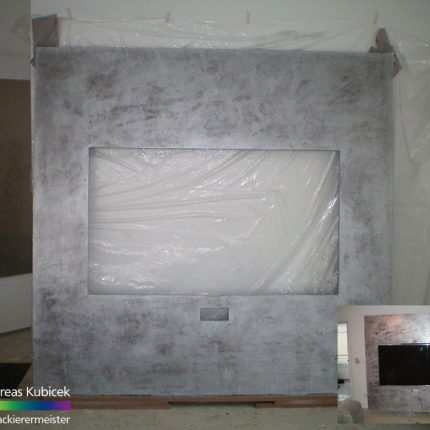 Wandgestaltung Spachteltechnik Metallic Fernsehwand Metalloptik Maler Bremen 01