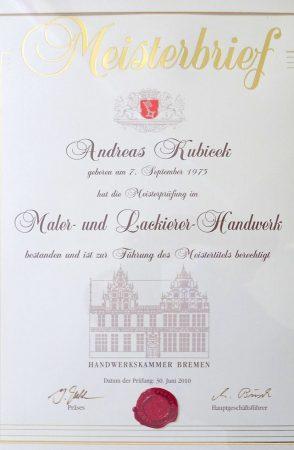 2010 Meisterbrief Andreas Kubicek