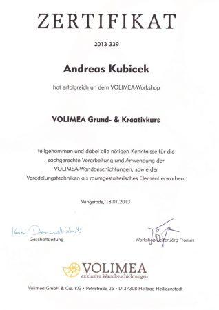 2013 Zertifikat Volimea