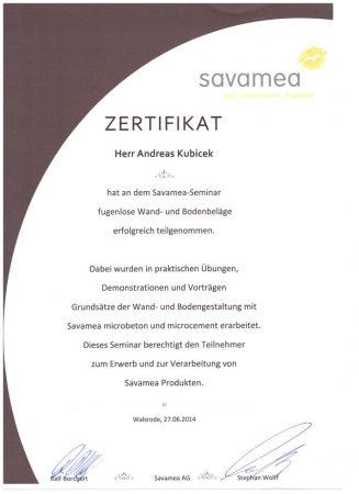 2014 Zertifikat Savamea Seminar