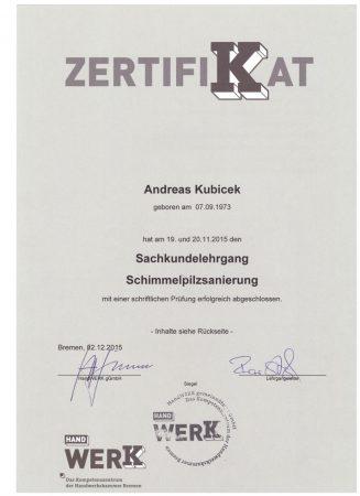 2015 Zertifikat Sachkundelehrgang Schimmelpilzsanierung