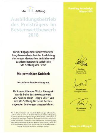 2018 Bestenwettbewerb Azubi Viktor Sto Stiftung